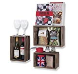 Wallniture Kitchen Storage Wine Rack Wooden Crate Basket Walnut Set of 3