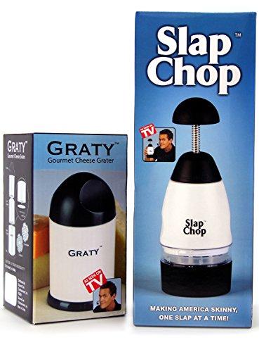Original Slap Chop Slicer with Bonus Cheese Graty - Stainless Steel Blades - Vegetable Chopper Gadget - Mini Chopper for Salads - Kitchen Accessory