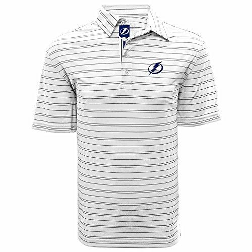 (Levelwear LEY9R NHL Tampa Bay Lightning Adult Men Deion Banner Stripe Polo, Small, White/Black)