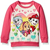 Paw Patrol Little Girls' Toddler Skye, Everest, and Marshall Hearts French Terry Sweatshirt, Cream/Pink, 3T