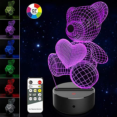 Bear 3D Illusion Lamp 7 Color Changing Smart Touch Or Remote Control Bedside Lamp For Kids And Adults, Perfect Novelty Birthday Christmas Gift
