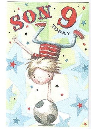 Happy 9th Birthday Son Card Football Trick Design Gr Amazon