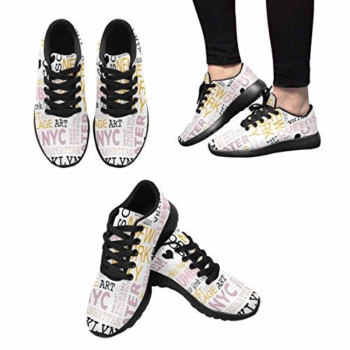 InterestPrint Womens Jogging Running Sneaker Lightweight Go Easy Walking Comfort Sports Running Shoes New York City Theme Borough and Icons Multi 1 jIw4BL4K