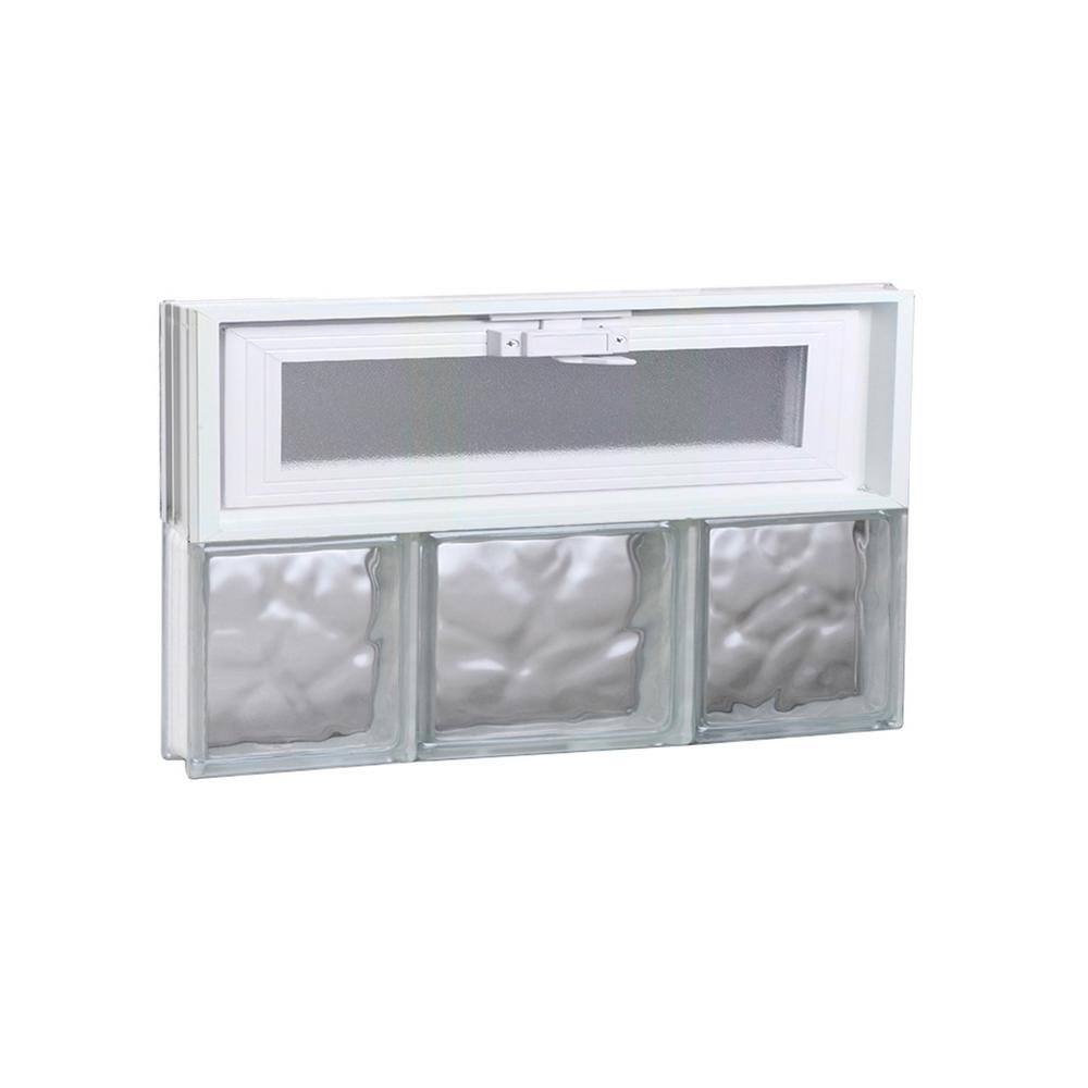 Clearly Secure 19.25 in. x 11.5 in. x 3.125 in. Wave Pattern Vented Glass Block Window by Clearly Secure