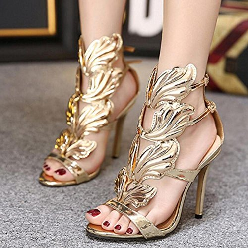 L@YC Damen Mitte niedrigen hohen Ferse Strappy kaum dort Party Hochzeit Prom Sandalen Größe Schuhe Gold