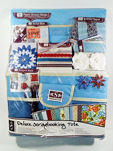 Deluxe Scrapbooking Tote- Tote, 12x12 Album, 12 Sheets Patterned Papers, Fiber Embellishments, Paper Flowers, Flower Embellishment, Rhinestone, Cardstock Tags, Foam Glitter Flowers, Epoxy Brads, Rub-ons, Stickers, Scissors, Ruffles