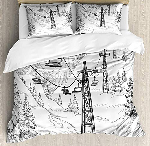SINOVAL Winter King Size Duvet Cover Set, Ski Lift with Fir Trees Monochrome Seasonal Holiday Destination Themed Sketch,Fashion 3 Piece Bedding Set with 2 Pillow Shams, Black and White (Sets Bedding Holiday)