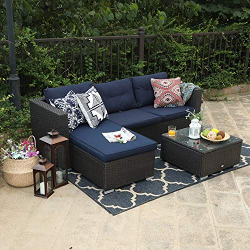 PHI VILLA 3 Piece New Patio Sectional Furniture Outdoor Sofa Set with Upgrade Rattan Wicker Navy Blue