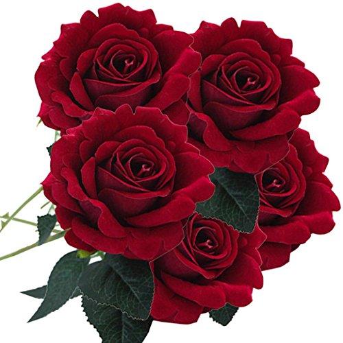 - YJYdada 5 Pcs Artificial Silk Fake Flowers Rose Flower Wedding Bouquet Party Home Decor (D)