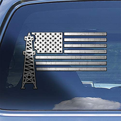 American Flag Oil Field Worker Decal Sticker