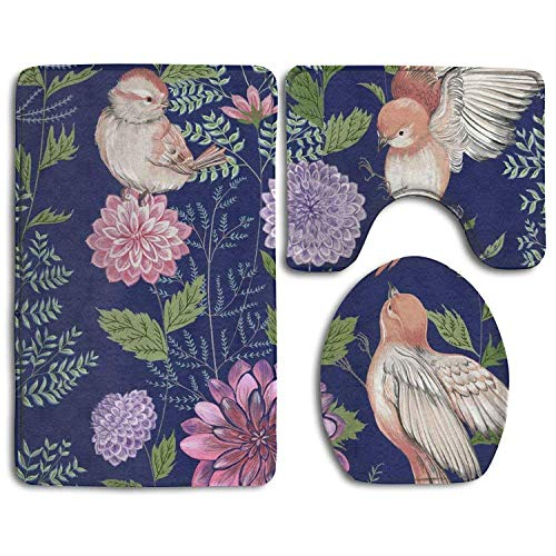 Non Slip Absorbent Water Bathroom Rug Toilet Sets, Beautiful Bird Art Family Flannel Non-Slip Bathroom Rug Mats Set 3 Piece Washable Contour Rug and Lid Cover