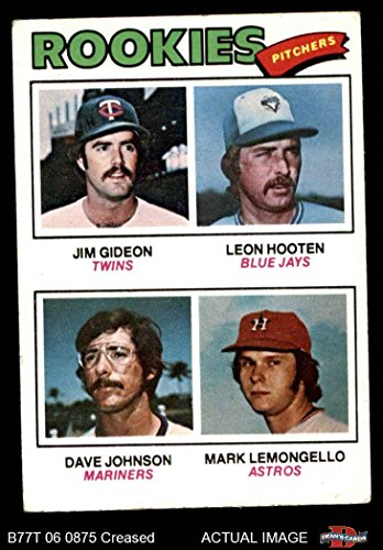 1977 Topps # 478 Rookie Pitchers Jim Gideon / Leon Hooten / Dave Johnson / Mark Lemongello Twins / Blue Jays / Mariners / Astros (Baseball Card) Dean's Cards 3 - VG Twins / Blue Jays / Mariners / Astros 1977 Rookie Card