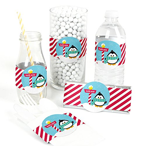 Holly Jolly Penguin - DIY Party Supplies - Holiday & Christmas Party DIY Wrapper Favors & Decorations - Set of 15 (Holiday Holly Wrap Decor)
