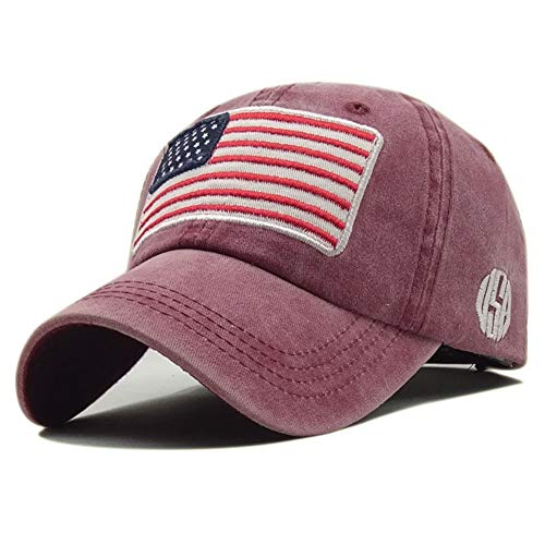ROWILUX Embroidered USA Flag Cap Washed Cotton Hat for Men and Women, -