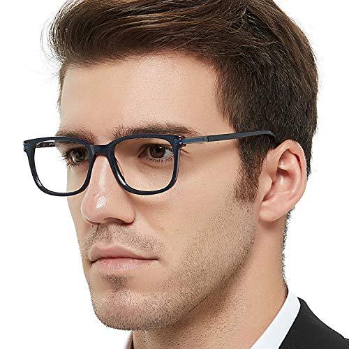 Men's Non Prescription Glasses Frame Fashion Eyeglasses Optical Eyewear (Blue+Red 52-18-138)