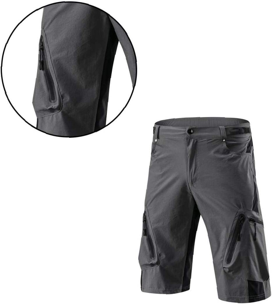 Mens Outdoor Sports MTB Cycling Shorts Climbing Loose Fit Padded Shorts with 7 Pockets in Summer Dark Grey M