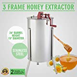 OrangeA Honey Extractor Bee Honey Extractor Manual Honeycomb Spinner 3 Three Frame Stainless Steel Beekeeping Accessory (3 Frame Honey Extractor)