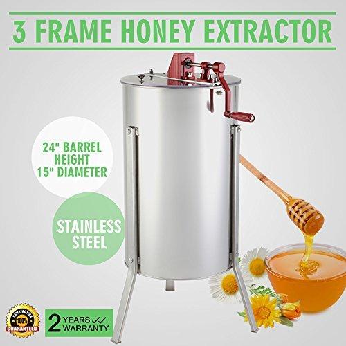 OrangeA Honey Extractor Bee Honey Extractor Manual Honeycomb Spinner 3 Three Frame Stainless Steel Beekeeping Accessory (3 Frame Honey Extractor)