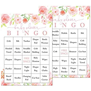 photograph relating to Baby Shower Bingo Cards Printable identified as InvitationHouse Red Floral Kid Shower Bingo Playing cards - Prefilled Boy or girl Bingo Video games - Fastened of 24
