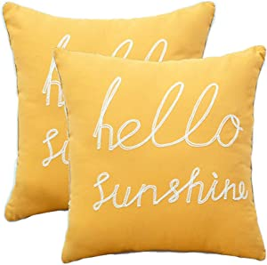 YIcabinet Set of 2 Soft Soild Decorative Square Throw Pillow Covers Outdoor Patio Pillow Yellow Hello Sunshine Pillow for Sofa Bedroom Car 18x18 Inch