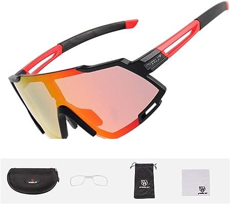 JKNMRL Gafas de Sol Deportivas polarizadas, Montura Ultraligera para Gafas de Ciclismo, con Estuche para Gafas y Montura de miopía, Espejo Unisex con protección UV400,Naranja: Amazon.es: Hogar