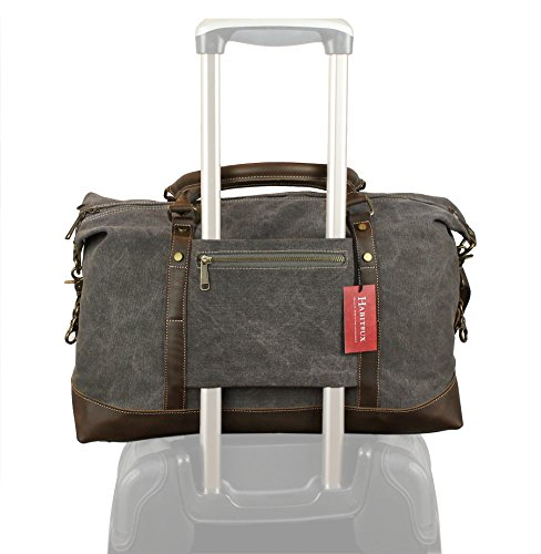 Weekender Duffel Bag Travel Tote - Canvas Genuine Leather Overnight - Detachable Laptop Wheeled Overnighter