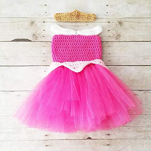 4208043e16763 Crochet Baby Sleeping Beauty Aurora Dress Tutu Crown Set Infant Newborn Baby  Toddler Child Handmade Costume Photography Photo Prop Baby Shower Gift  Present