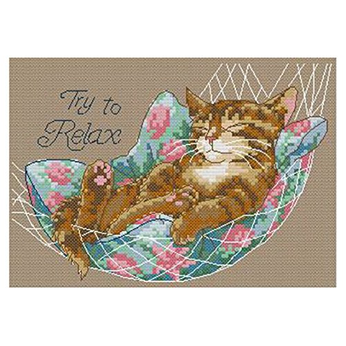 TOOGOO(R) DIY Hand Knitting Count Cross Stitch Set Embroidery Set 14CT Cat Hammock Pattern Cross Stitching 2517cm Home Decoration (Cat Cross)