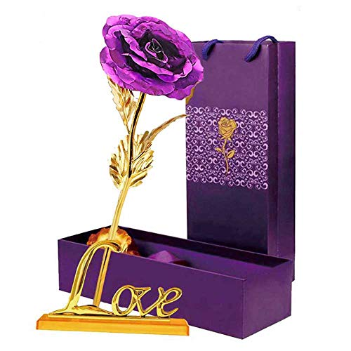 LOMIRO Girlfriend Gifts ❤️24K Gold Foil Rose Flower with Love Base❤️Gifts for Her,Mom ❤️ on Valentine's Day,Mother's Day,Christmas,Thanksgiving,Anniversary,Birthday,Special Days (Purple)❤️