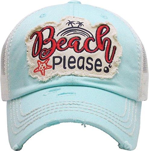 H-212-BP54 Mesh Dad Hat - Beach Please (Mint) ()