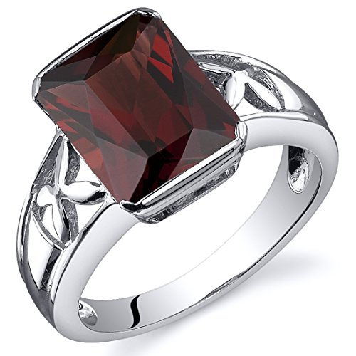Garnet Solitaire (Garnet 4.00 Carats Ring Sterling Silver Rhodium Nickel Finish Radiant Cut Size 9)