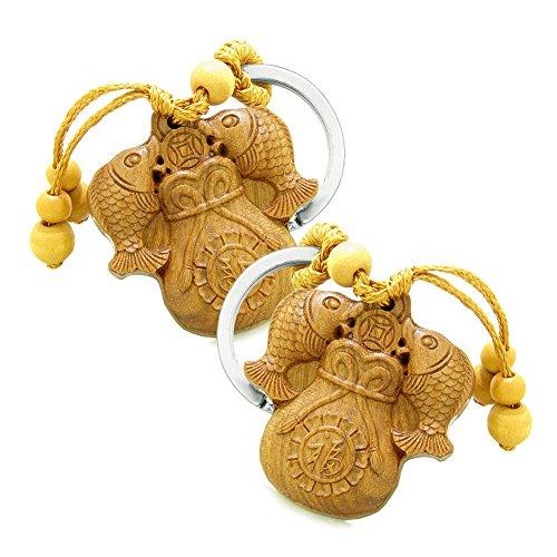 Amulet Double Lucky Fortune Fish Money Bag Good Luck Coin Charms Feng Shui Symbols Keychain Set ()