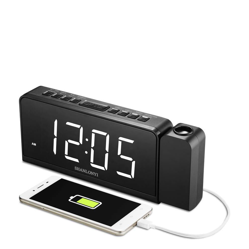 Amazoncom SHANLONYI Projection Alarm Clock Radio with