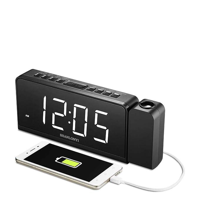 Amazon.com: shanlonyi Tiempo Proyección Radio reloj ...