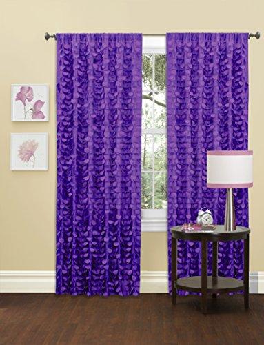 "Lush Decor Gigi Single Window Curtain Panel, 84"" x 50"", Purp"