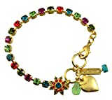 Mariana ''Tiger Lily'' Gold Plated Crystal Tennis Bracelet with Flower and Heart, 8''