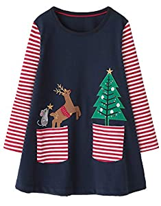Fiream Girls Cotton Longsleeve Casual Dresses Applique Cartoon Christmas Tree Deer(SY018,3-4Y)