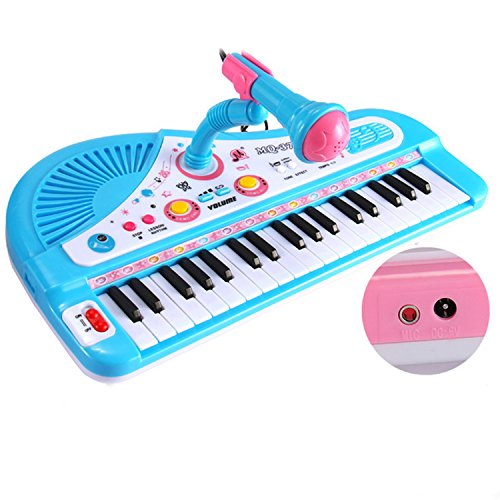 Educational 37 Keys Musical Toy Keyboard Instrument Piano for Kids Multi-function with Microphone by THE SAFETY ZONEY