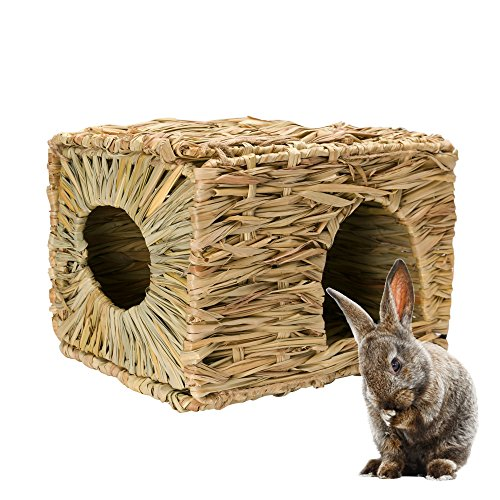 51G XI8Y91L - Mkono Natural Seagrass Mat Bed Hideaway Toy, Hand Woven for Rabbit Guinea pig Chinchilla Ferret