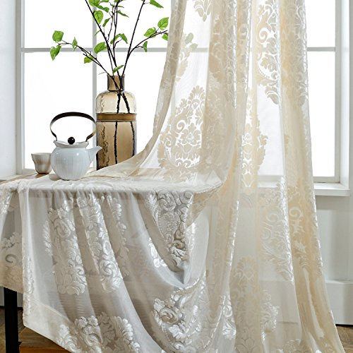 WPKIRA Rod Pocket Top European Style Thicken Flocking Fabric Privacy Lace Sheer Curtain Panels Half-shading Screens Window Curtain Drapes Room Divider For Living Room 1 Panel, White/Cream