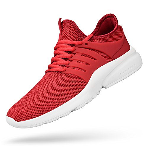 Feetmat Men's Running Shoes Lightweight Non Slip Breathable Mesh Sneakers Sports Athletic Walking Shoes Red White 12M