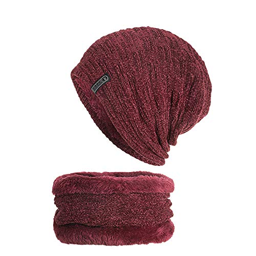 (Muranba 2Pcs Unisex Winter Warm Knit Thick Beanie Hat Scarf Set (Red)