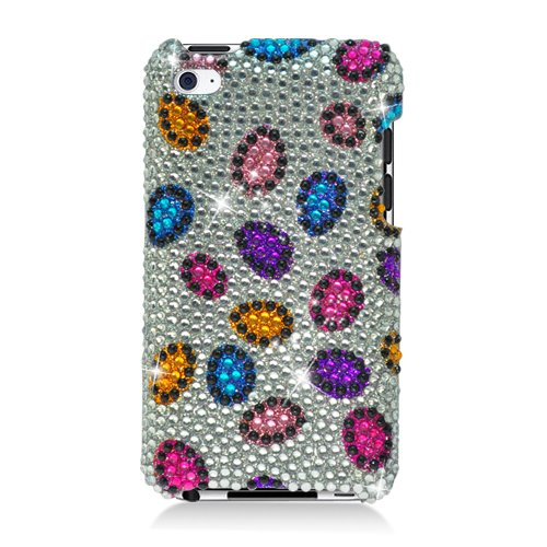 Leopard Ipod Case (Cell Accessories For Less (TM) Apple iPod Touch 4th Generation 4G - Full Diamond Bling Case Rainbow Leopard 347 Bundle (Stylus & Micro Cleaning Cloth) - By TheTargetBuys)