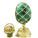 Emerald Green Enameled Russian Faberge Style Egg With Basket Figurine Trinket Jewelry Box With Swarovski Elements Crystals