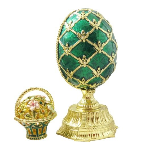 Emerald Green Enameled Russian Faberge Style Egg With Basket Figurine Trinket Jewelry Box With Swarovski Elements Crystals by Krustallos
