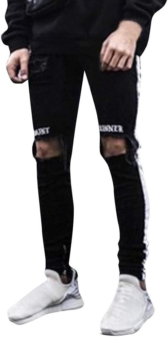 Side Stripe Biker Jeans for Men Teen Boy Washed Distressed Destroyed Skinny Jeans Stretchy Holes Ripped Denim Pants