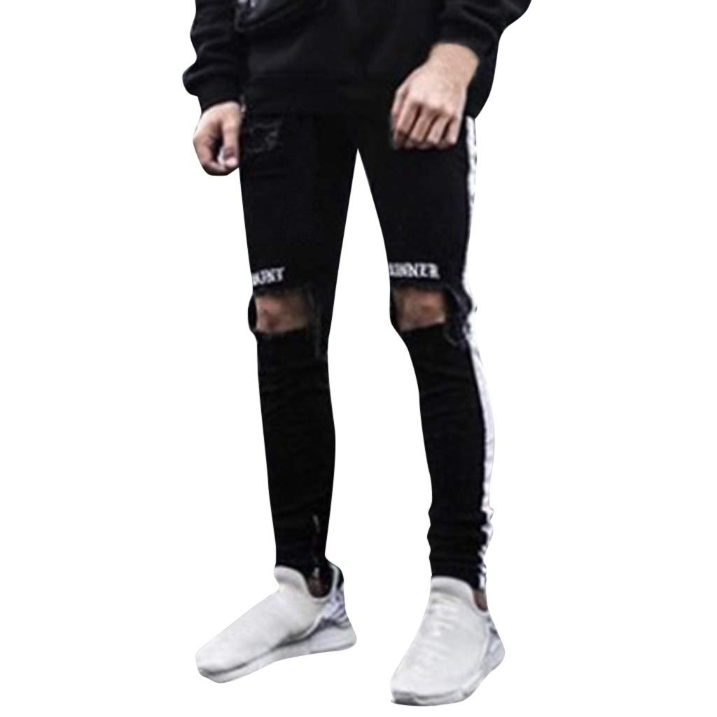 Mens Sweatpants, F_Gotal Men's Casual Cotton Ripped Jeans Slim Fit Skinny Stretch Jeans Pants Trouser with Pockets Black by F_Gotal Mens Pants