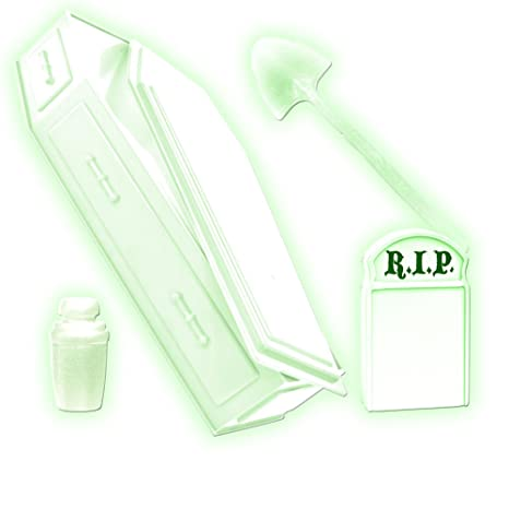 Glow In The Dark Tombstone Urn Coffin /& Shovel for WWE Wrestling Figures