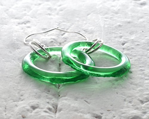 Gin Bottle Glass Earrings - Recycled Tanqueray - Dry Tanqueray Gin