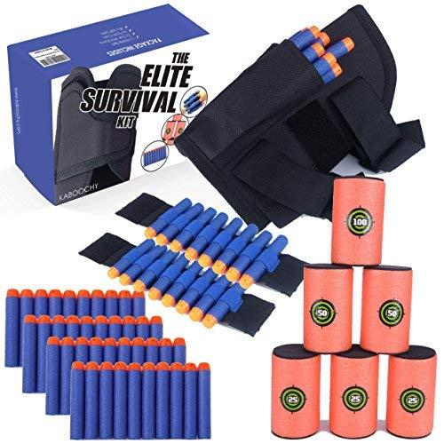 KABOOCHY Holster Belt for Nerf N-Strike Elite, 49 Piece Value Kit Elite Survival Kit Nerf Gun Accessories Kit Includes Gun Holder Waist Bag, 2 Wrist Bands, 6 Foam Cans and 40 Refill Darts